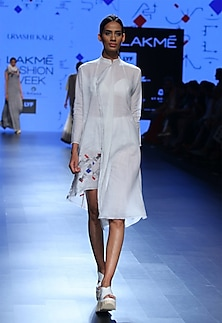 White ruffled block printed tunic by Urvashi Kaur