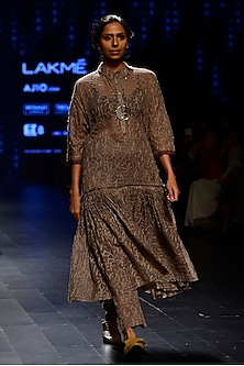 Grey Chicken Kari Embroidered Sheer Tunic by Urvashi Kaur