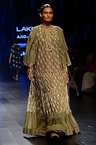 Olive and Ivory Checkered Tent Dress by Urvashi Kaur