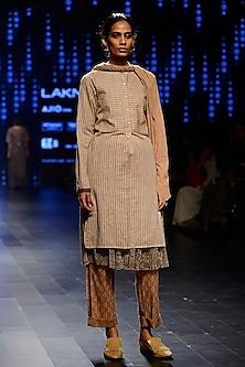 Peach Woven Striped Tunic by Urvashi Kaur