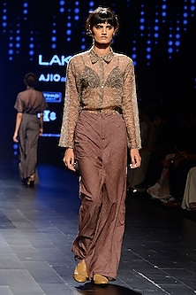 Brown Woven Line Wide Leg Pants by Urvashi Kaur
