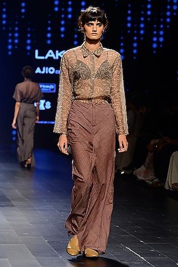 Brown Woven Line Wide Leg Pants by Urvashi Kaur