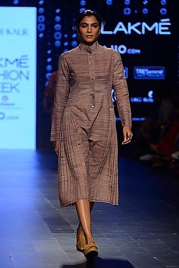 Peach Pleated Long Shirt Dress by Urvashi Kaur