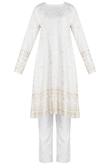 Ivory Embroidered Chikankari Kurta Set by Umrao Couture