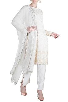 Ivory Embroidered Chikankari Kurta Set by Umrao Couture