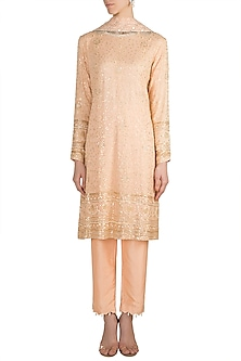 Peach Embroidered Chikankari Kurta Set by Umrao Couture