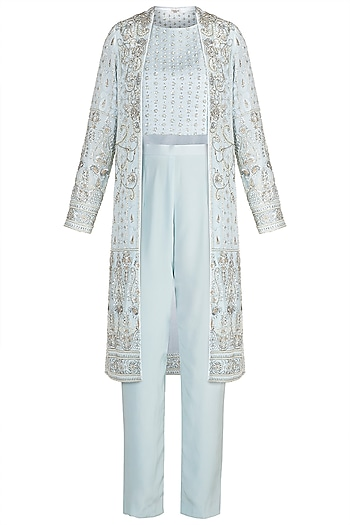 Powder Blue Embroidered Jacket With Crop Top & Pants by Umrao Couture