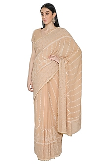 Beige Chikankari Embroidered Saree Set by Umrao Couture