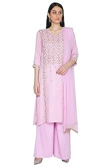 Lilac Mukaish Embellished Kurta Set by Umrao Couture