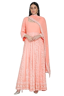 Peach Chikankari Embroidered Anarkali Set by Umrao Couture