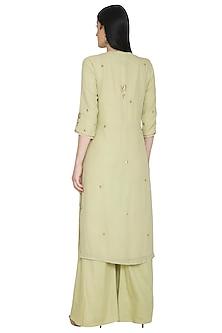 Light Green Mukaish Embellished Kurta Set by Umrao Couture