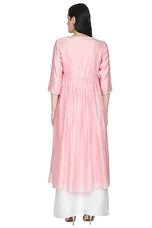 Pink Pearl Embroidered Kurta Set by Umrao Couture
