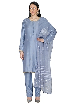 Bluish Grey Pearls Embroidered Kurta Set by Umrao Couture