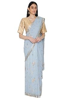 Bluish Grey Embellished Saree Set by Umrao Couture