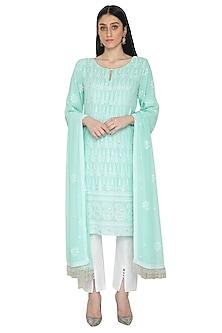Turquoise Lucknowi Chikankari Kurta Set by Umrao Couture