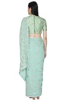 Teal Blue Embellished Saree Set by Umrao Couture