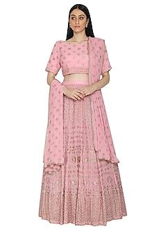 Pink Mukaish Embellished Lehenga Set by Umrao Couture