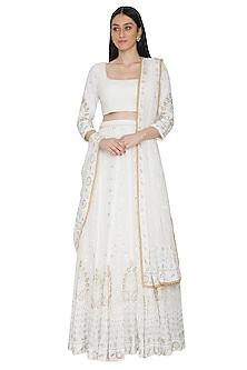 White Lucknowi Chikankari Embellished Lehenga Set by Umrao Couture