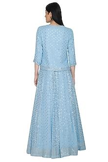 Sky Blue Mukaish Embellished Lehenga Set by Umrao Couture