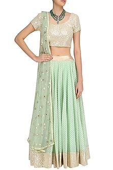 Mint Green Chanderi Lehenga Skirt and Off White Sequinned Blouse Set by Umrao Couture