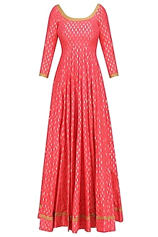 Coral Foil Work Kalidaar Anarkali Kurta with Off White Dupatta by Umrao Couture