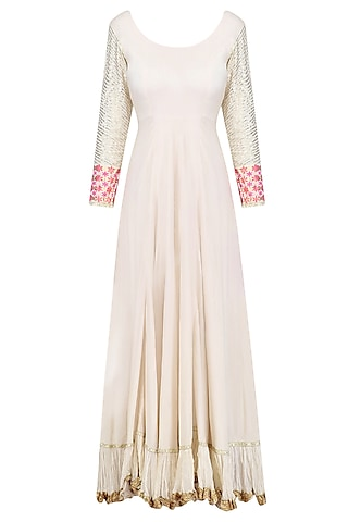 Off White Chanderi Anarkali Kurta with Pink Sequinned Dupatta by Umrao Couture