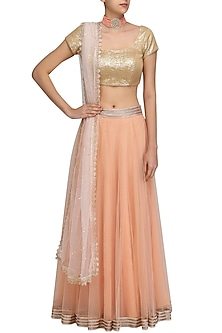 Orange Lehenga Skirt and Gold Sequinned Blouse Set by Umrao Couture