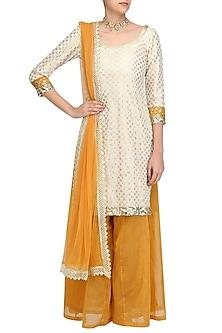 Off White Chanderi Short Kurta and Yellow Sharara Pants Set by Umrao Couture