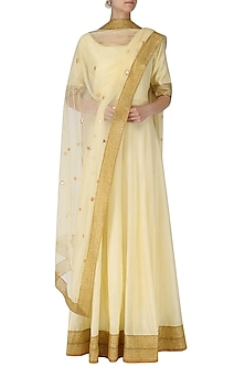Cream Kalidaar Anarkali Kurta with Mirror Work Dupatta by Umrao Couture
