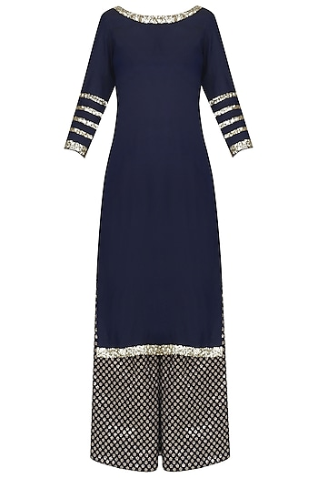 Navy Blue Sequins Embroidered Short Kurta and Sharara Pants Set by Umrao Couture