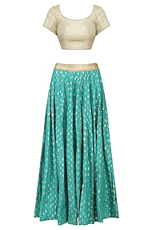 Turquoise Blue Foil Printed Lehenga Skirt and Gold Blouse Set by Umrao Couture
