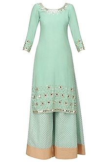 Sea Green Mirror Embroidered Kurta and Sharara Pants Set by Umrao Couture