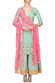 Sea Green Mirror Embroidered Kurta and Sharara Pants Set by Umrao Couture