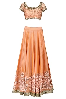Peach Sequins and Mirror Embroidered Lehenga Set by Umrao Couture