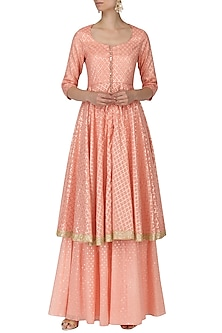 Peach and Gold Foil Work Kalidaar Kurta with Sharara Pants by Umrao Couture