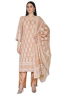 Beige Lucknowi Chikankari Embroidered Kurta Set by Umrao Couture