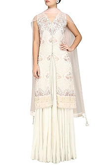 Ivory Embroidered Kurta with Palazzo Pants Set by Umrao Couture