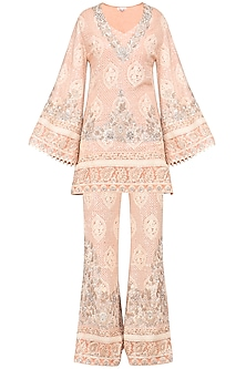 Blush Pink Embroidered Kurta with Palazzo Pants by Umrao Couture