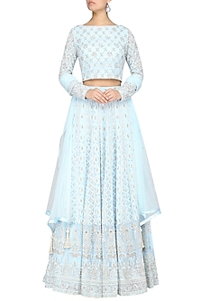 Ice Blue Embroidered Lehenga Set by Umrao Couture