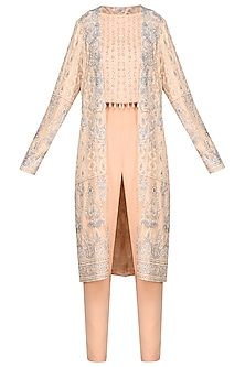Peach Embroidered Crop Top and Jacket with Pants by Umrao Couture