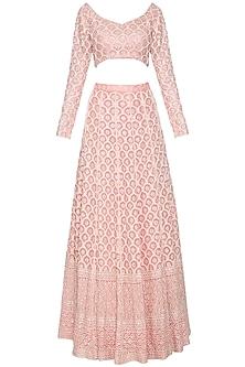 Blush pink chikankari embroidered lehenga set by Umrao Couture
