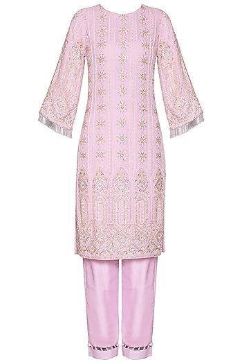 Lilac chikankari embroidered kurta set by Umrao Couture