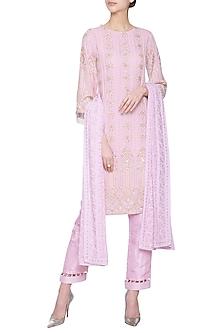 Lilac chikankari embroidered kurta set by Umrao Couture