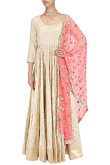 Ivory Chanderi Anarkali with Neon Pink Embroidered Dupatta by Umrao Couture