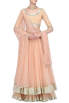 Peach Sequins Embroidered Blouse and Double Layered Lehenga Set by Umrao Couture