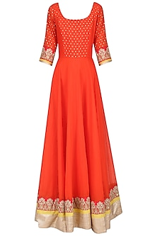 Orange and Yellow Embroidered Anarkali Set by Umrao Couture
