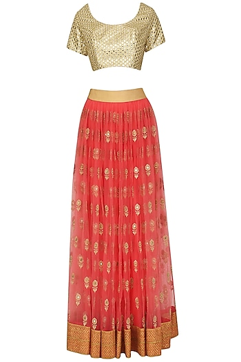 Pink and Mint Mirror Work Lehenga Set by Umrao Couture