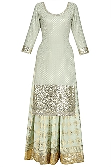 Mint Green Sequins Embroidered Kurta and Skirt Set by Umrao Couture