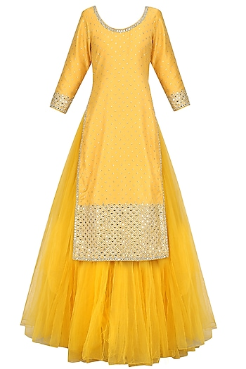 Yellow Mirror Work Kurta and Skirt Set by Umrao Couture