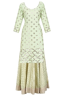 Mint Green Embroidered Kurta and Skirt Set by Umrao Couture